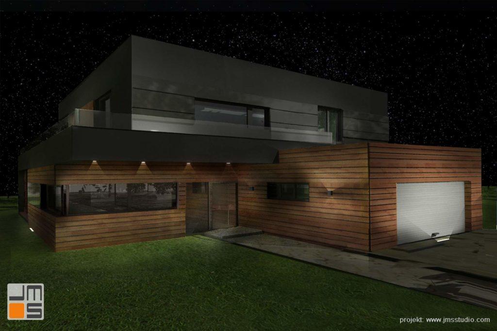 Ciekawy Projekt Nocnego Podświetlenia Elewacji Nowoczesnego