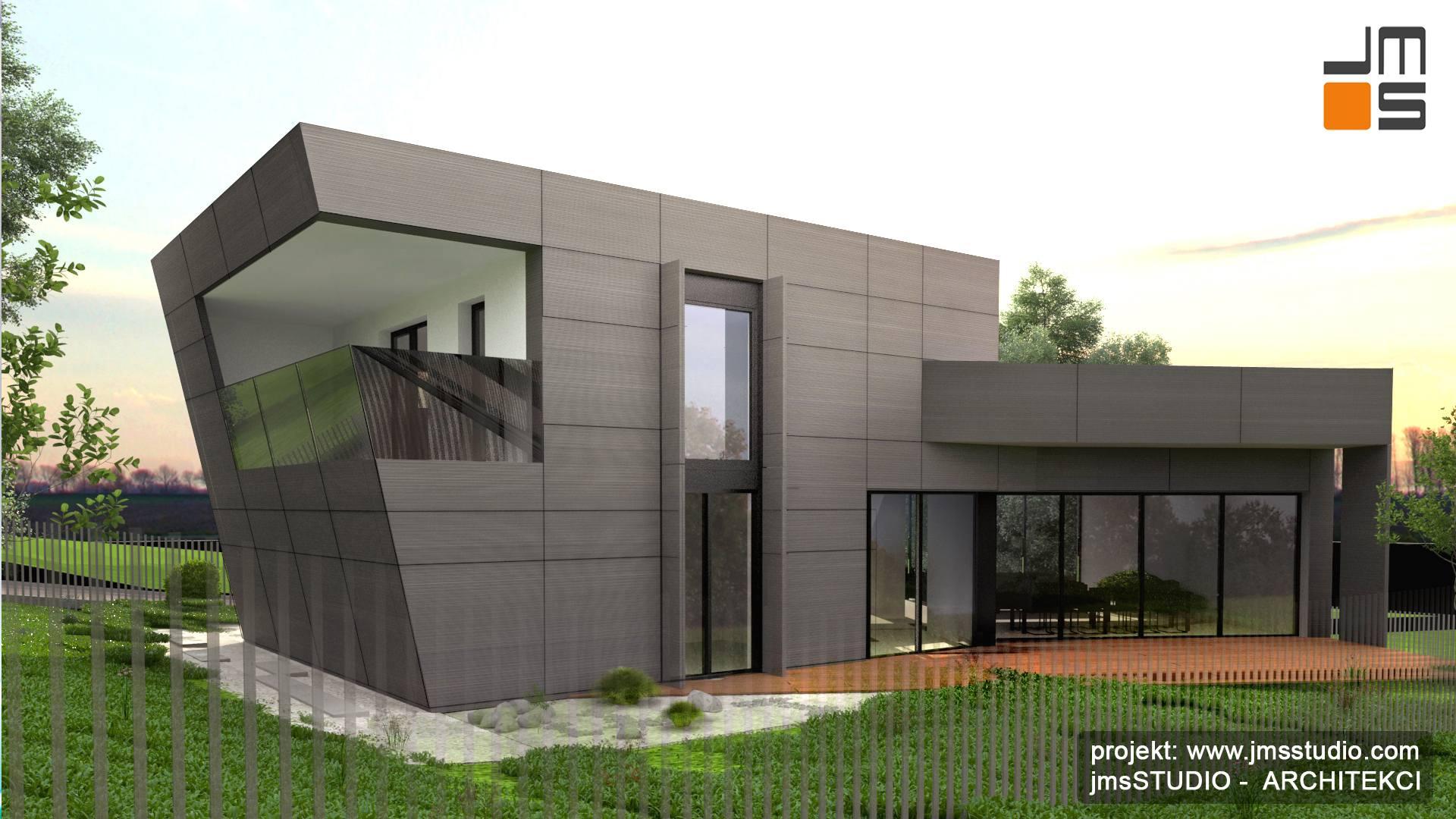 Projekt Nowoczesnego Domu Z Plaskim Dachem Duzymi Oknami I Szara