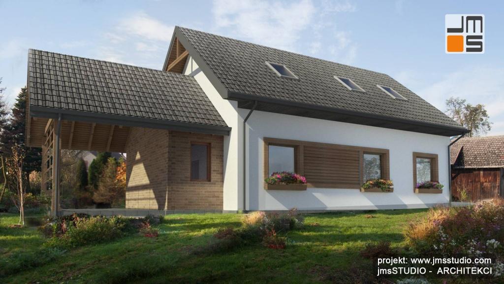 Projekt indywidualny małego domu na wsi w starym siedlisku o rustykalnym charakterze