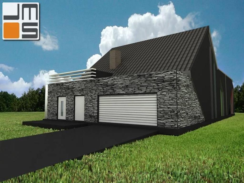 Kamienna elewacja domu,duża  brama garażowa na elewacji