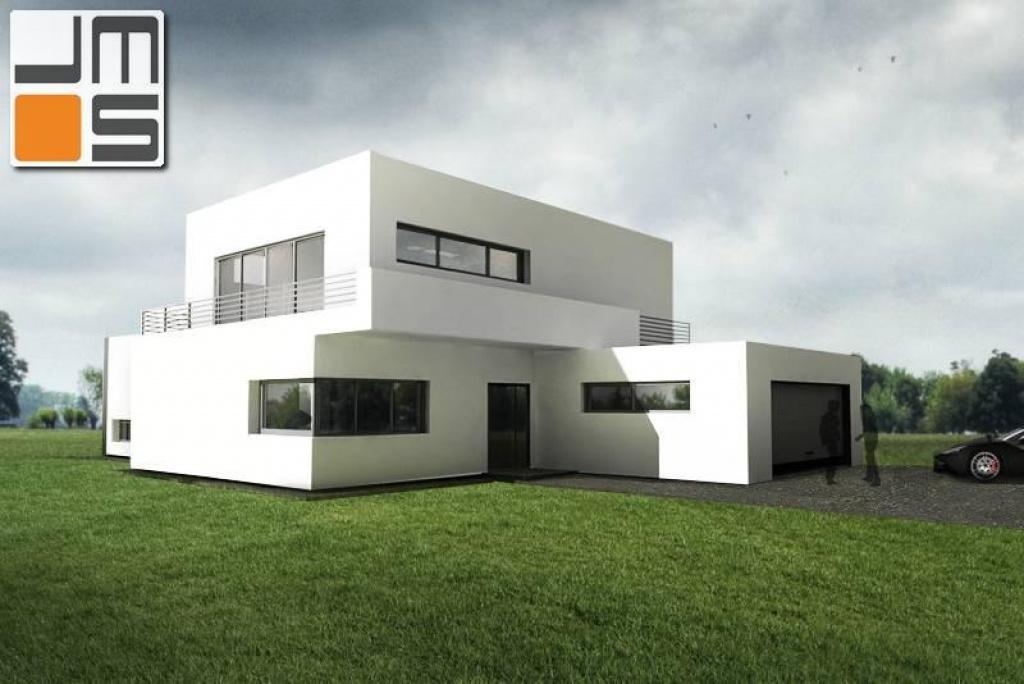 Prosty dom z garażem i tarasem, elewacja z oknem narożnym