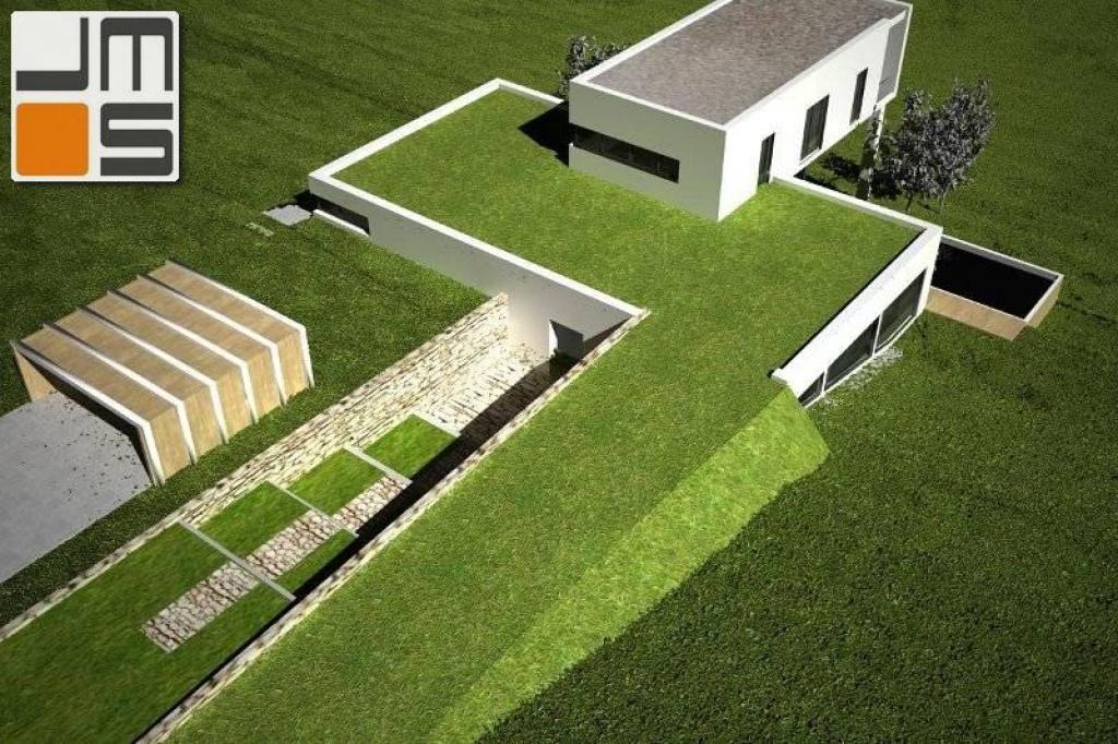 Widok zielonego dachu nowoczesnego domu