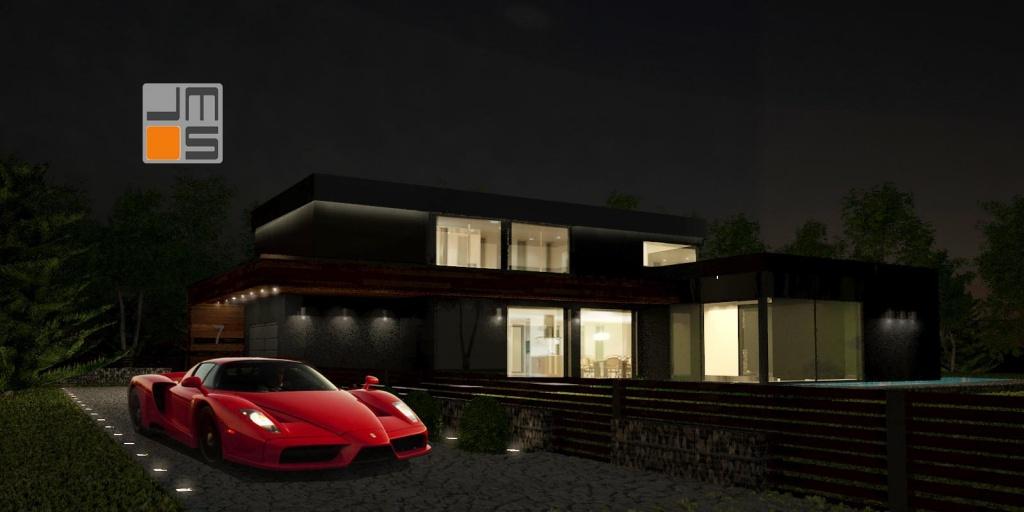 Dom jednorodzinny oświetlony na zewnątrz