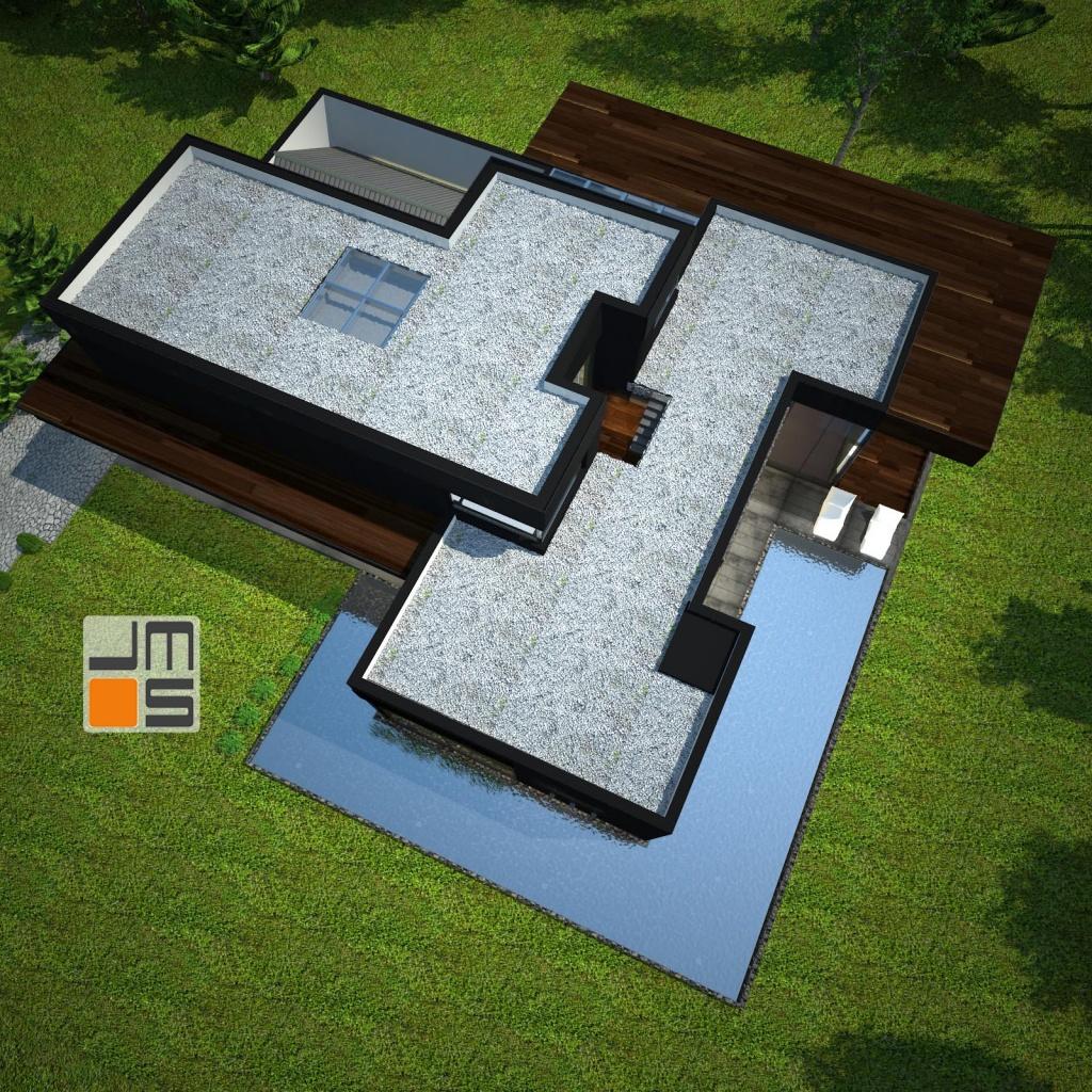 Dom z płaskim dachem taras na dachu