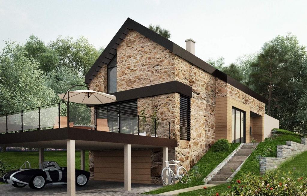 Projekt nowoczesnego domu w górach na działce ze spadkiem nowoczesna architektura elewacja z kamienia - Bielsko Biała