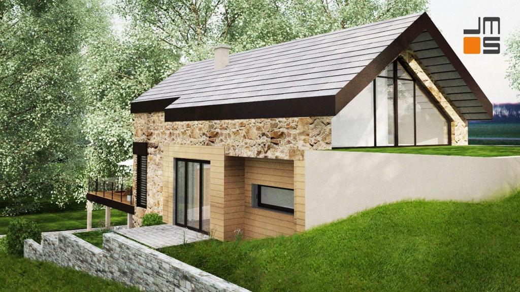 Nowoczesny dom w górach z elewacją z kamienia