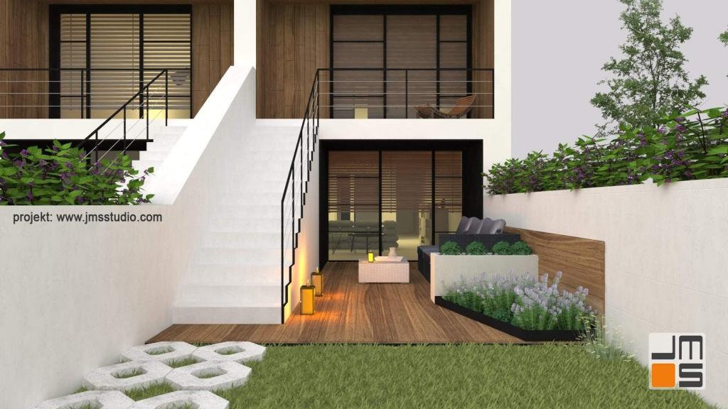 Projekt tarasu przy domu jednorodzinnym w zabudowie szeregowej z drewnem tarasowym i elementami z bbetonu architektonicznego