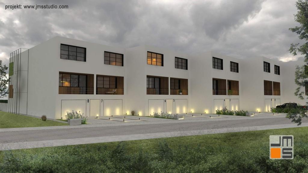 Podświetlenie nowoczesnej elewacji pozwala na podkreślenie jej nowoczesnego projektu i designerskiego wyglądu