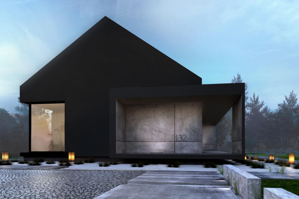 Projekt nowoczesnego domu rekreacyjno wypoczynkowego w górach na działce z widokiem