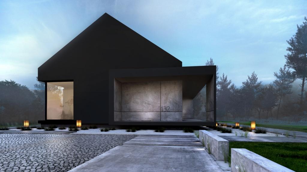 Połaczenie kolorów antracytowego i szarego betonu na nowoczesnej elewacji daje bardzo ciekawy efekt wizualny w projekciew nowoczesnego domu jednorodzinnego