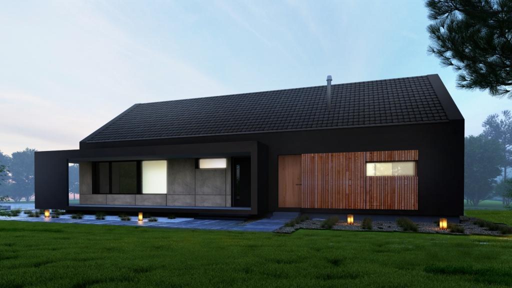 Dekoracyjna rama betonowa w kolorze antracytowym jest elementem dekoracyjnym elewacji oraz funkcjonalnym działajac jako zadaszenie