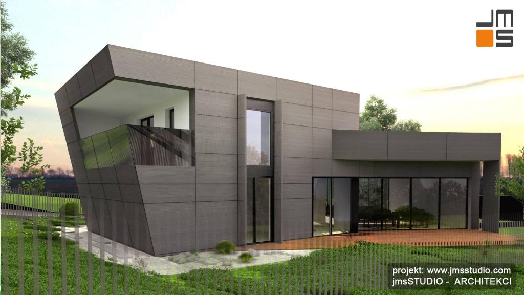 Ciekawy projekt balkonu ze szkła bez szprosów i pochwytu w nowoczesnym budynku jednorodzinnym Starachowice