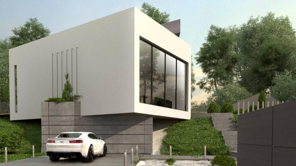 Projekt nowoczesnego domu z płaskim dachem, dużymi oknami i szarą elewacją na działce ze spadkiem w Krakowie i Starachowicach