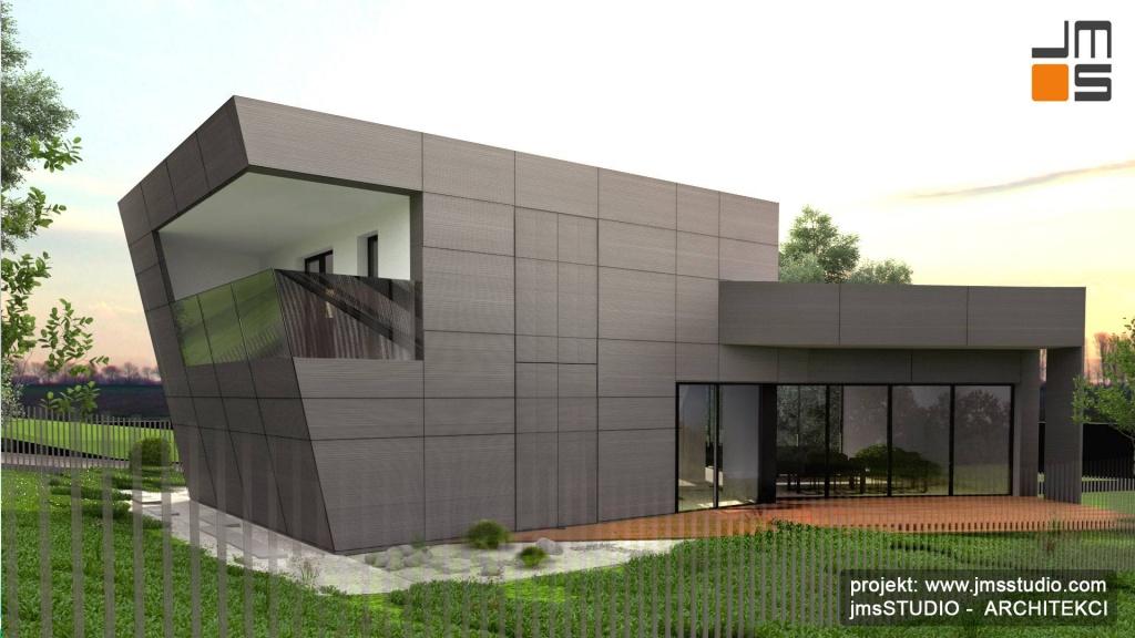 ciekawy pomysł na duże okiennnice i balkon ze szklaną balustradą