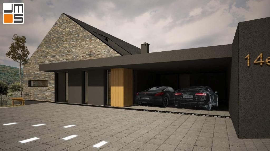 Ciekawe podświetlenie podjazdu do nowoczesnego domu jednorodzinnego