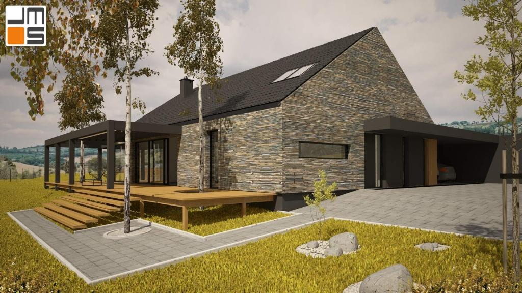 Garaż typu wiata został wkomponowany w bryłę domu w stylu nowoczesnej stodoły pod krakowem