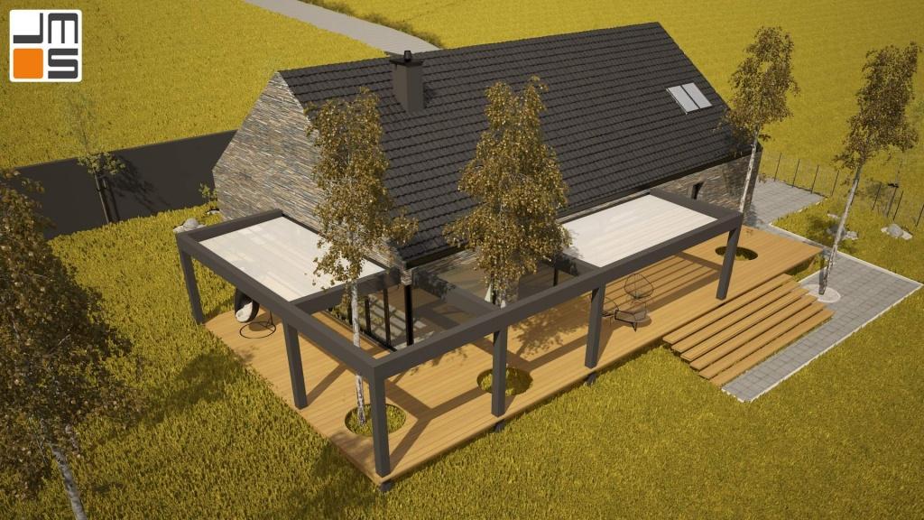 Nowoczeny projekt domu na działce ze spadkiem z drzewami ma działce wkomponowanymi w taras z deski kompozytowej