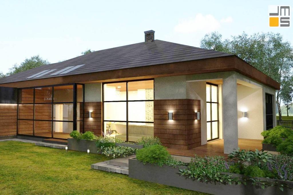 Indywidualny projekt nowoczesnej eleganckiej Willi podmiejskiej z dachem kopertowym, dużymi oknami industrialnymi i drewnem na elewacji w okolicy Katowic na Śląsku