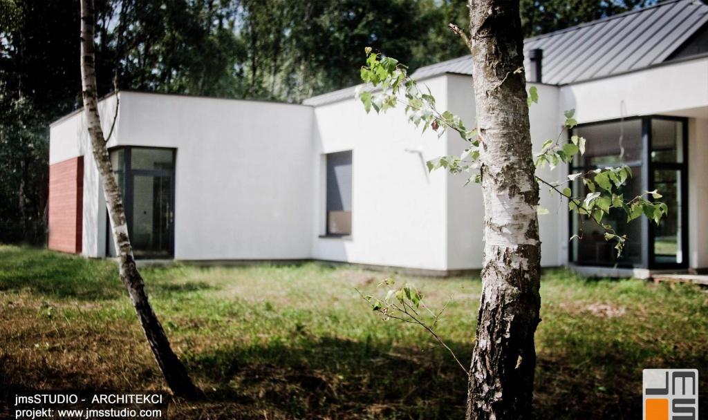 projekt nowoczesnego domu z dużymi przeszkleniami i drewnem na elewacji zakładał jego dobre wkomponowanie w teren z drzewami pod Brzeskiem