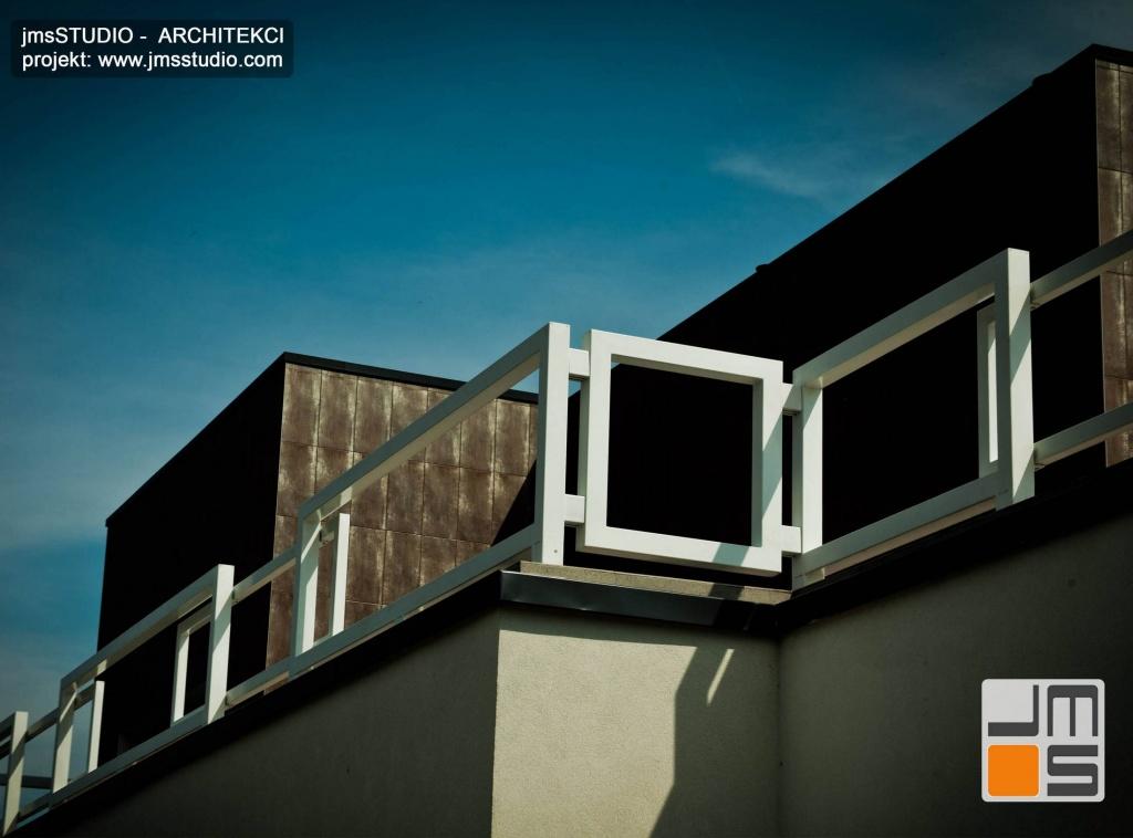 Architekt Kraków projekt dużego ekskluzywnego domu nowoczesny dom z płaskim dachem koło Poznań ciekawa balustrada malowana proszkowo na biało