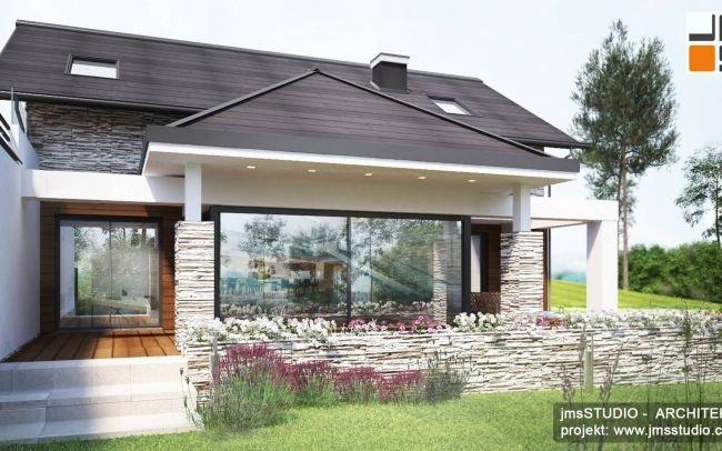 Architekt Kraków - Projekt indywidualny pięknego domu na działce ze spadkiem w stylu klasycznym z designerskimi nowoczesnymi oknami i kamieniem na elewacji pod Nowym Targiem