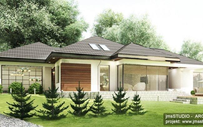 Architekt Kraków - Projekt indywidualny parterowego domu na trudnej działce o dziwnym kształcie ze spadkiem w Wieliczce
