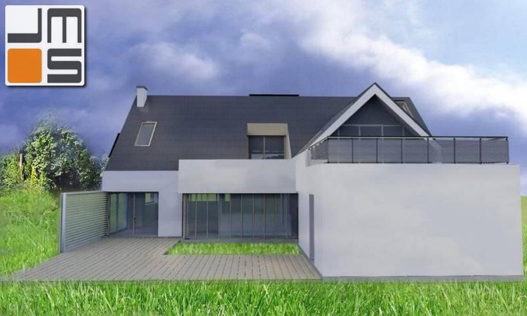 Indywidualny projekt domu dachem spadzistym i dużym tarasem