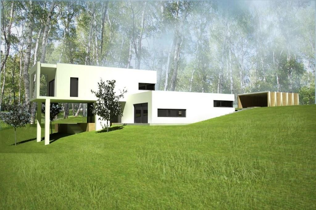 Projekt domu nowoczesnego na zróznicowanym terenie