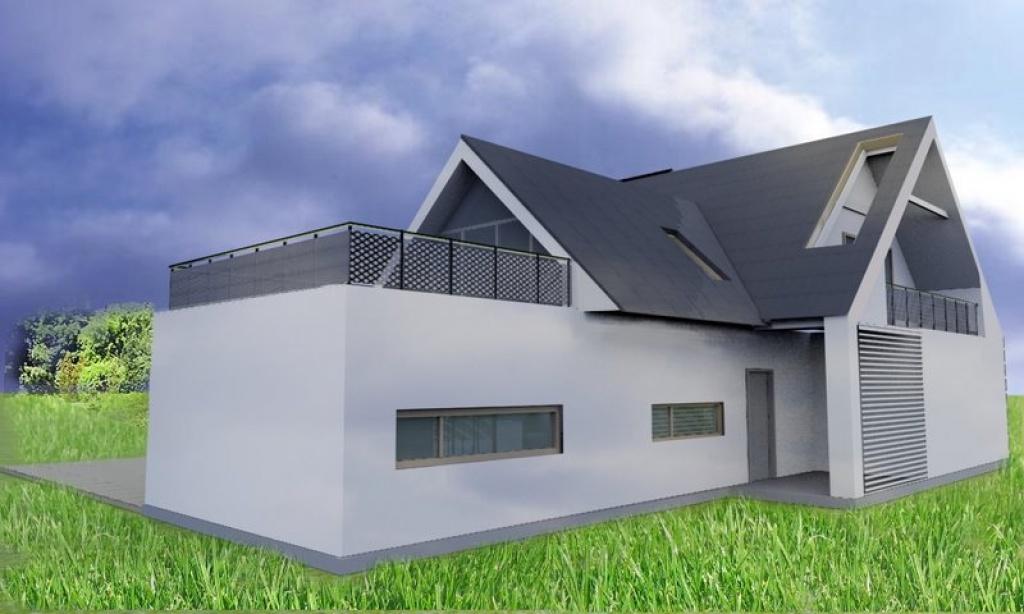 Projekt indywidualny domu z dachem z blachu płaskiej na rąbek stojący