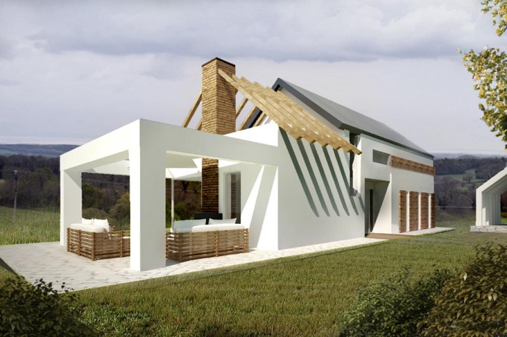 Oryginalny dom jednorodzinny z dachem dwuspadowym