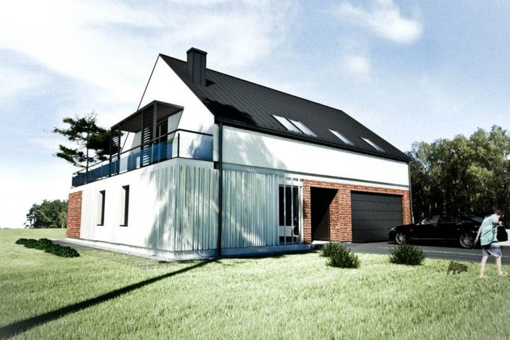 Projekt domu z zewnętrznym basenem rekreacyjnym K1