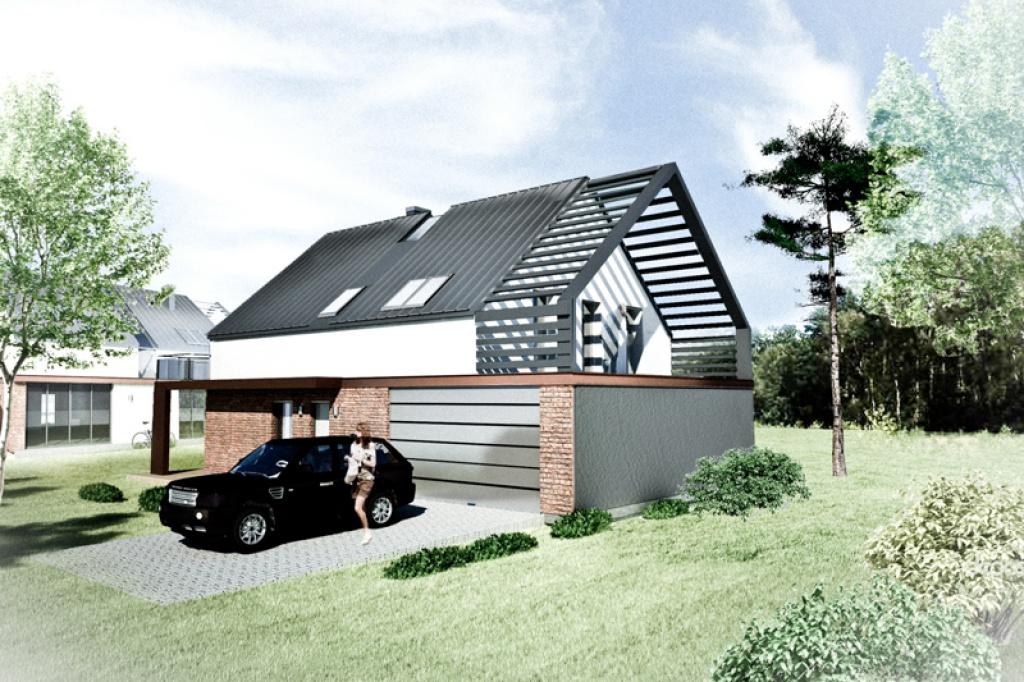 Nowoczesny dom z akcentem w postaci żaluzji zewnętrznych K2
