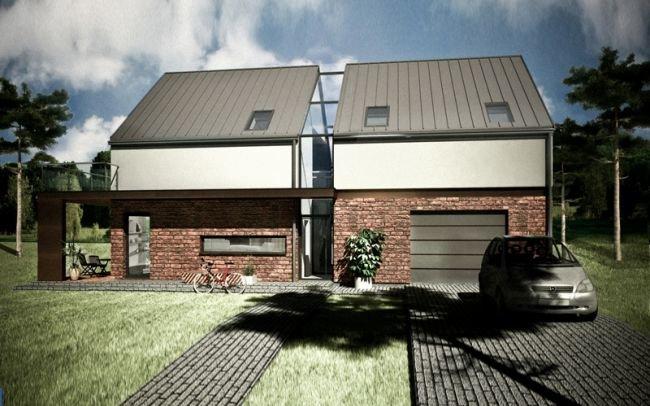Projekt domu K4 z atrakcyjnym przeszkleniem pionowym