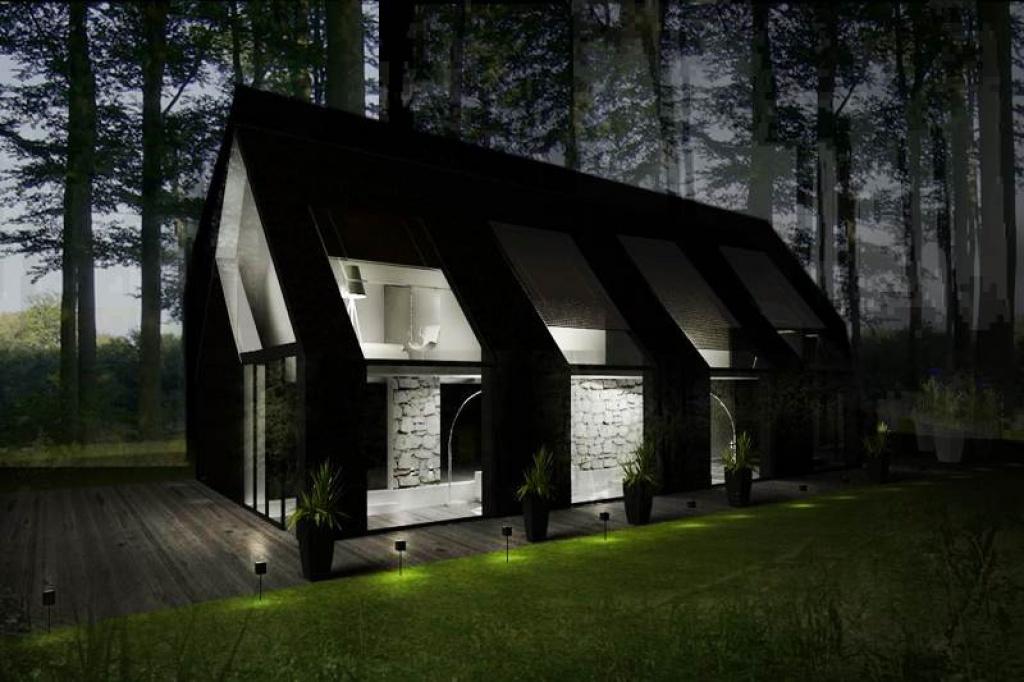 Dom z dachem dwuspadowym elewacja z gontu naturalnego J14