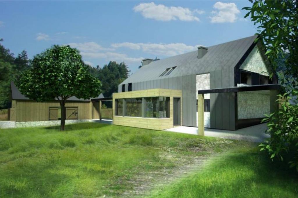 Nowoczesny nietypowy dom z wiatą na terenach wiejskich J13