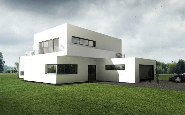 Prosty dom z białą elewacją i nowoczesnymi oknami, J11