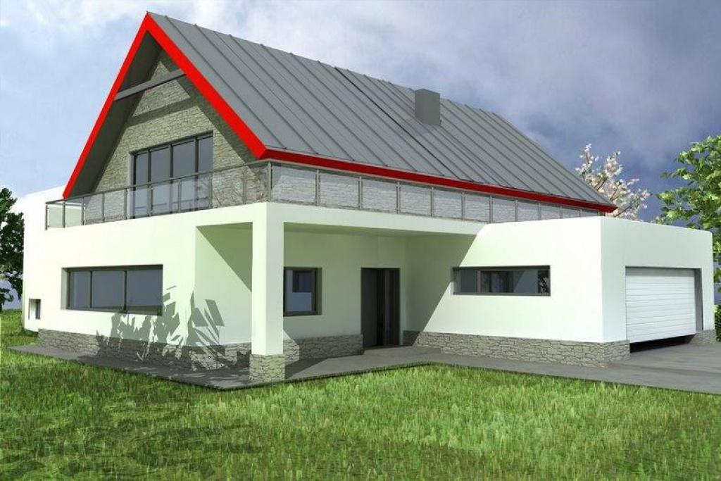 Indywidualny projekt nowoczesnego domu z garażem tarasem, J7