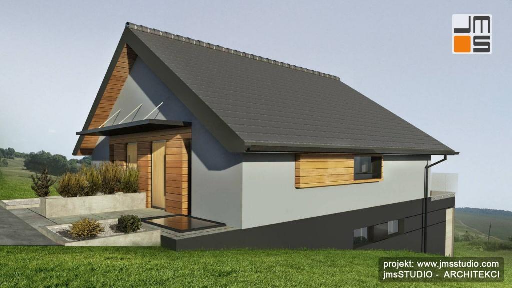projekt indywidualny budynku typu bliźniak dwu lokalowy pod Krakowem - Architekt Kraków - projekt domu z drewnem na elewacji na działce ze spadkiem terenu