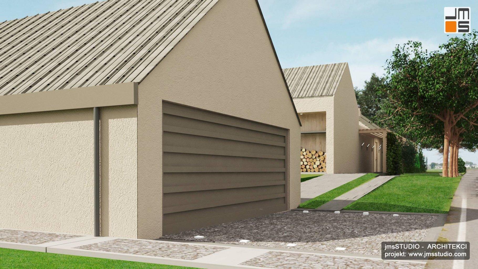 projekt garażu z dachem dwuspadowym w Katowicach przy domu nowoczesna stodoła