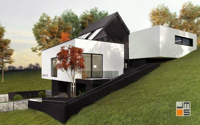 Indywidualny projekt domu jednorodzinnego - prosty i nowoczesny dom na skarpie w Kraków - Balice z pomysłem na schody terenowe i ciekawą bryłą