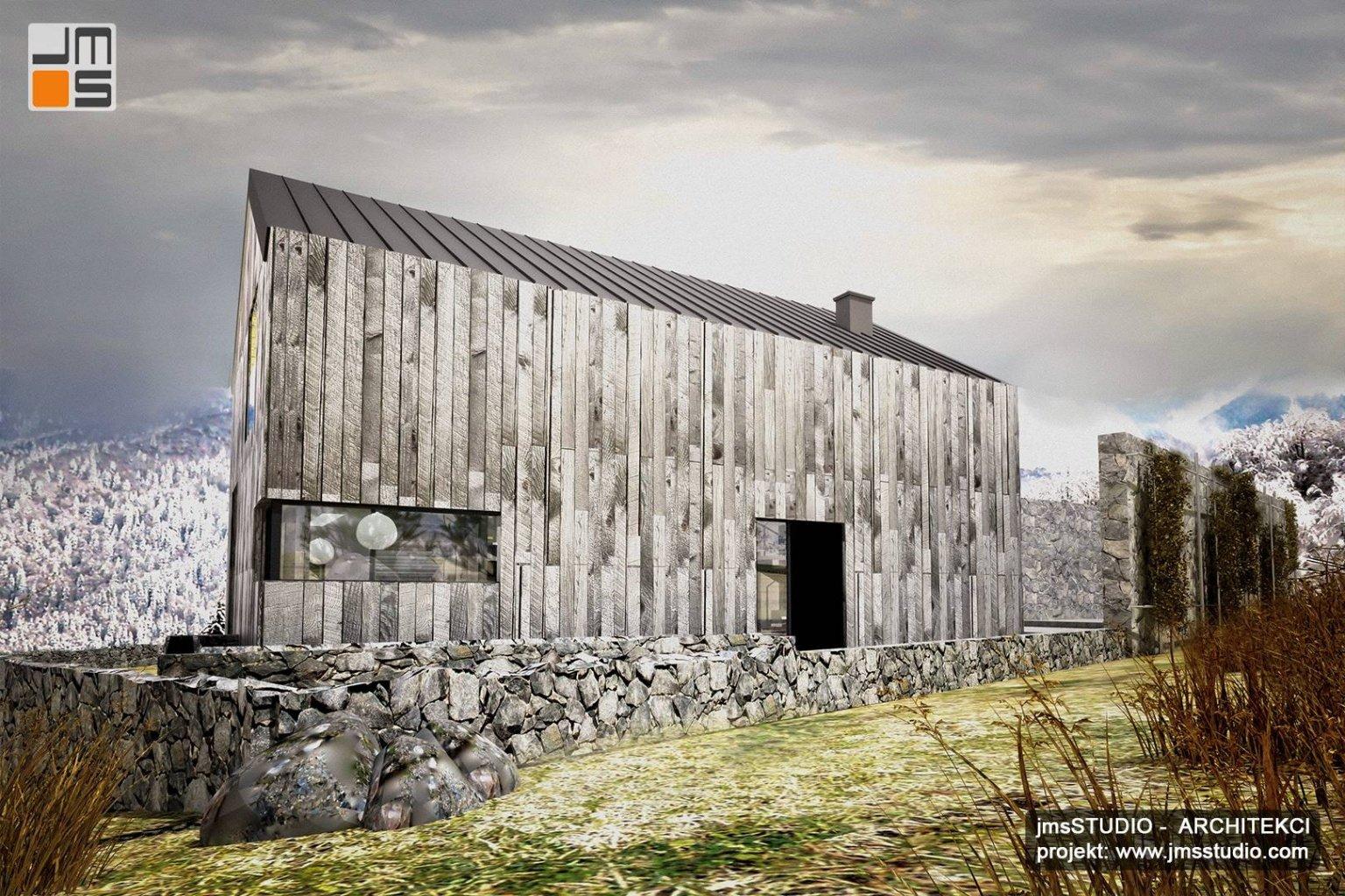 projekt elewacji z drewna w dom skandynawski Nowy Targ to pomysł na projekt domu nowoczesna stodoła w górach