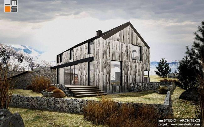 Surowy i prosty - projekt domu nowoczesna stodoła dom w górach pod tatrami w stylu skandynawskim z drewno i kamień na elewacji z duże okna w Nowy Targ