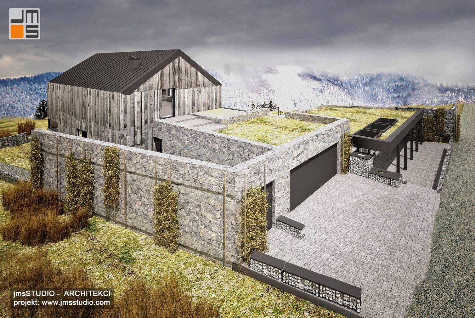 projekt domu na trudnej działce ze spadkiem skarpa - tarasowy budynek z drewno na elewacji skandynawskiej Nowy Targ
