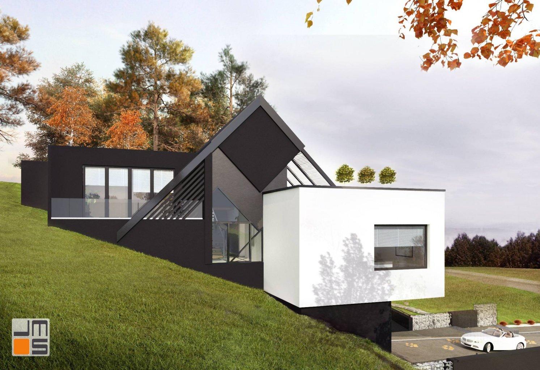 Prosty i nowoczesny projekt indywidualny domu z białymi i szarymi elewacjami w Krakowie - nie kolejny dom stodoła