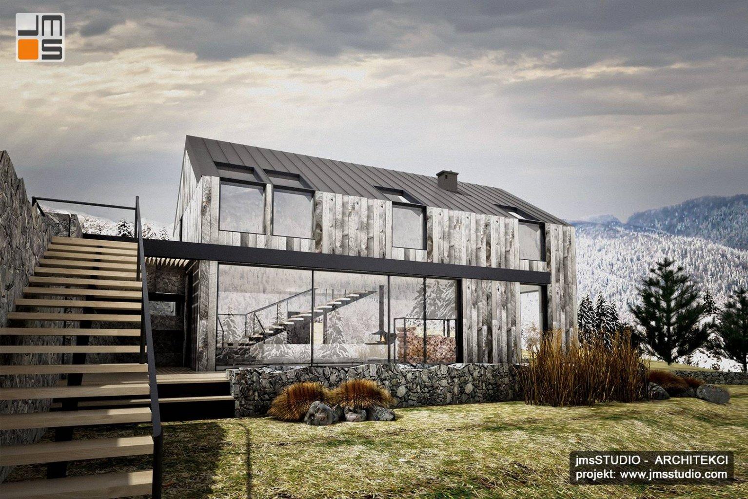 Schody zewnętrzne stalowe na taras w domu nowoczesna stodoła w stylu skandynawskim w Nowy Targ