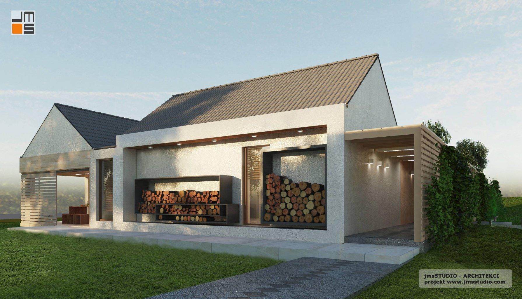 projekt rezydencji od architekt Kraków to pomysł zdjęcie skład stojak na drewno do kominka