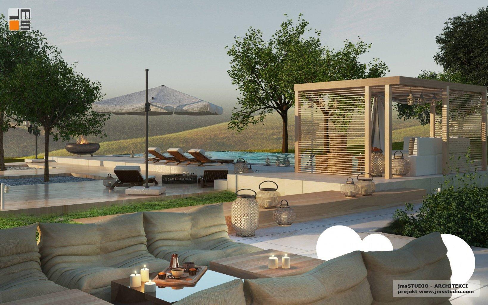strefa relaksu to pomysł na taras w nowoczesny projekt domu rezydencja z basenem w Kraków z pergolą