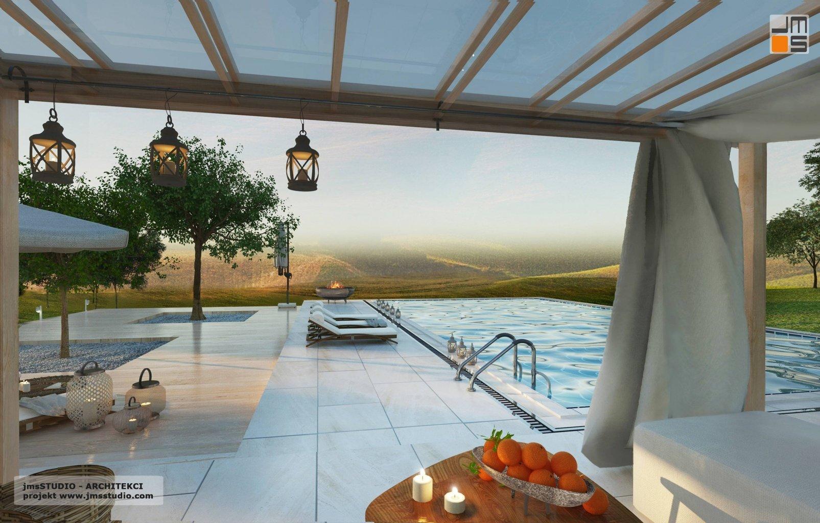 Projekt włoskiej pergoli GIBUS to świetny pomysł na cień w projekt rezydencji z basenem