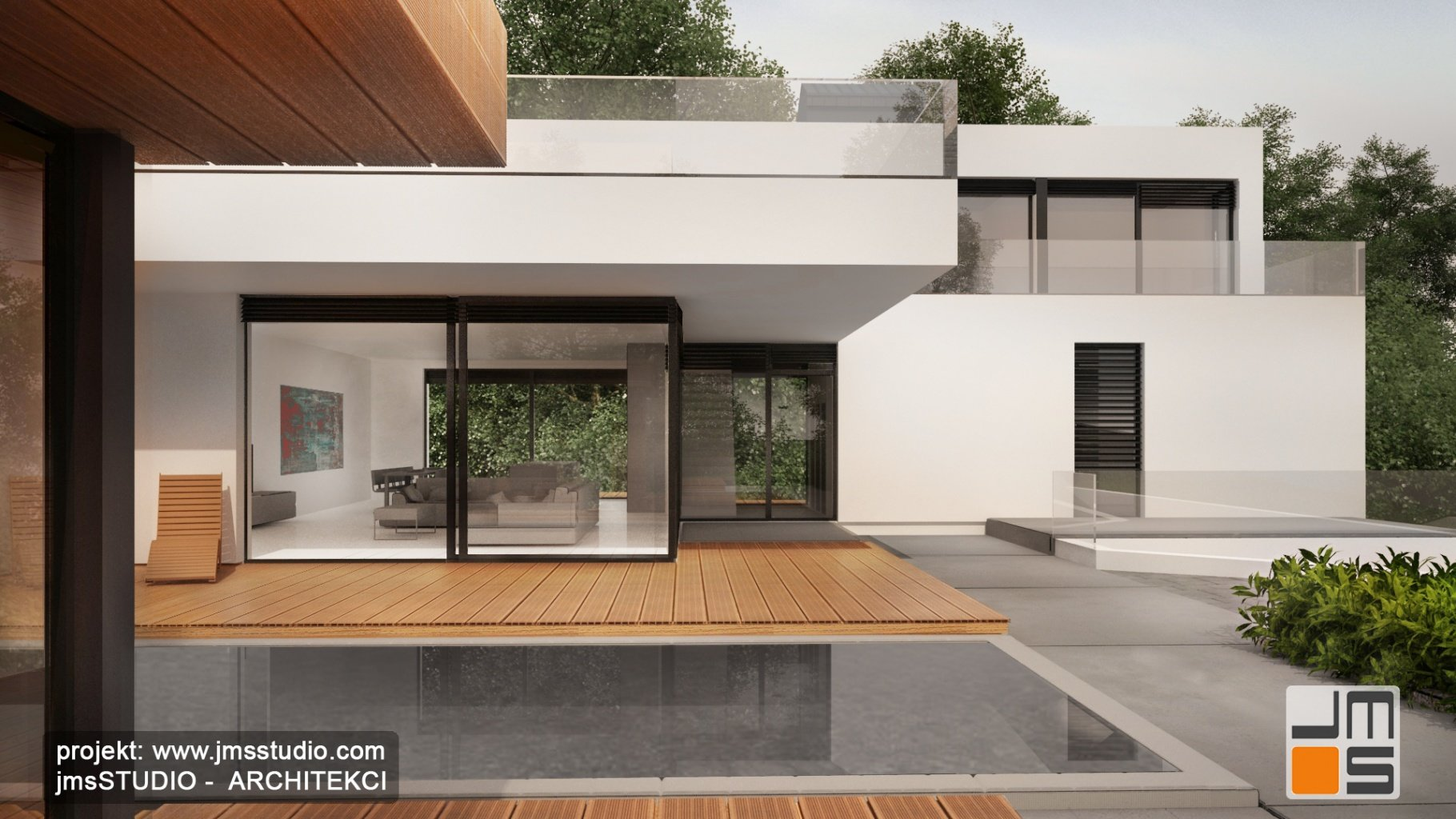 Projekt nowoczesnego domu z płaskim dachem oraz duże okna antracytowe  i pomysłem na garaż pod budynkiem