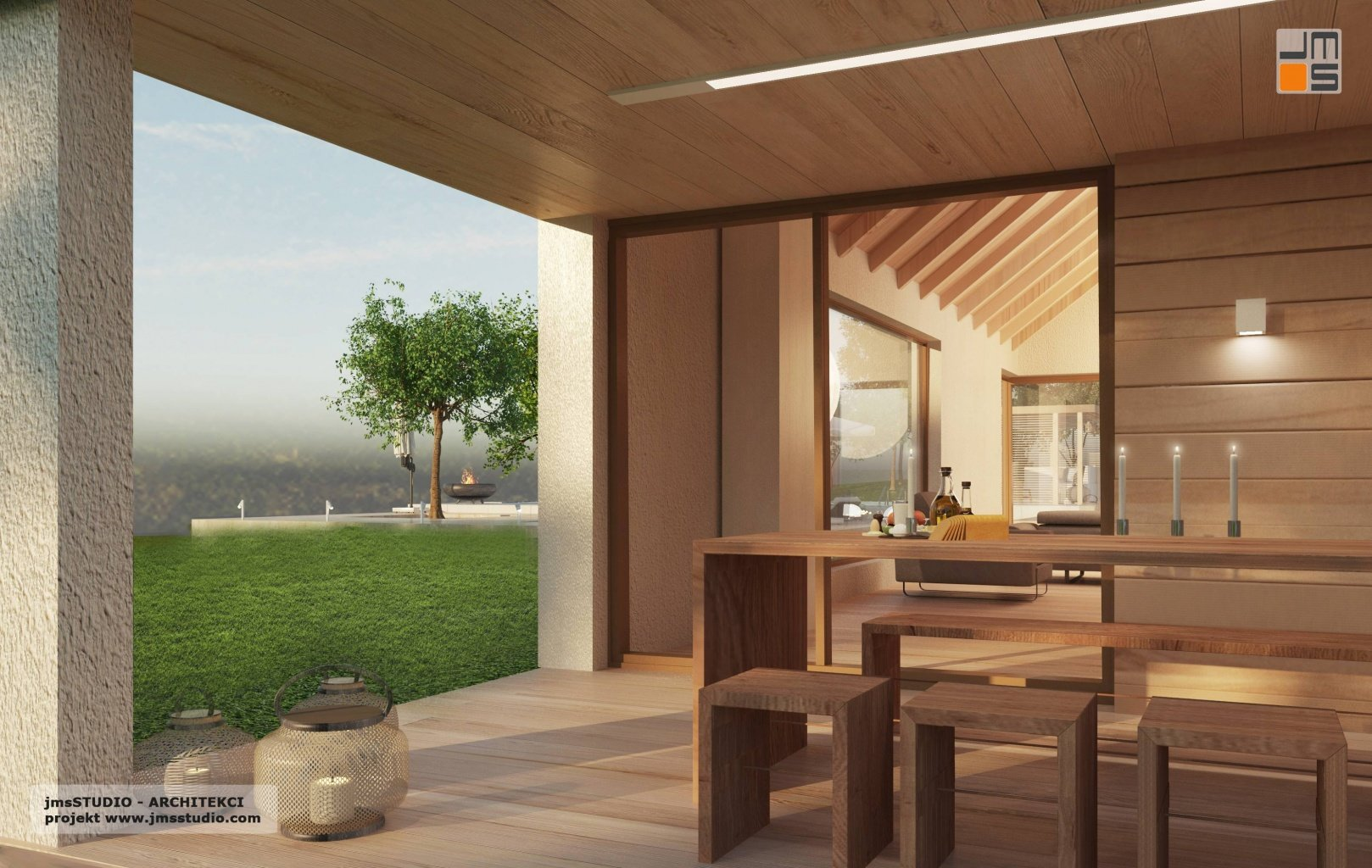 Projekt domu z nowoczesny taras drewniany z drewno na elewacji tarasowej z nowoczesne oświetlenie tarasu